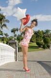 женщина Валентайн сердца дня ballon красивейшая Стоковые Фотографии RF