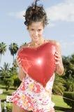 женщина Валентайн сердца дня ballon красивейшая Стоковая Фотография RF