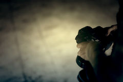 Женщина вампиров с камерой в руке Стоковое Фото
