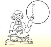 Женщина варя еду иллюстрация штока