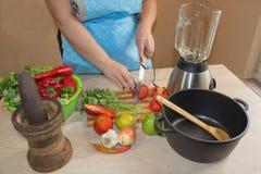 Женщина варя здоровую еду в кухне Варящ здоровую еду дома кухня подготовляя женщину овощей Стоковое Фото