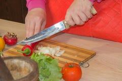 Женщина варя здоровую еду в кухне Варящ здоровую еду дома кухня подготовляя женщину овощей Подготавливать блюда Стоковое Изображение