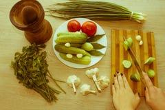 Женщина варя здоровую еду в кухне варящ еду здоровую Стоковое фото RF