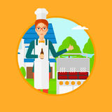 Женщина варя мясо на гриле Стоковое фото RF