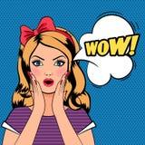Женщина вау, женщина искусства шипучки с знаком ВАУ Стоковое Фото
