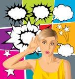 Женщина вектора подслушивая что-то Стоковое Фото