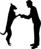 женщина вектора силуэта собаки иллюстрация вектора