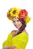 Женщина весны с волосами цветков Стоковые Фото
