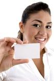 женщина визитной карточки показывая детенышей Стоковые Фото