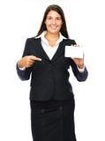 Женщина визитной карточки указывая стоковое изображение rf