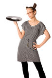 женщина винила плиты Стоковые Изображения