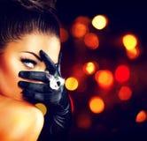 Женщина винтажного стиля загадочная Стоковая Фотография RF
