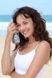 женщина воды крупного плана бутылки Стоковые Изображения RF