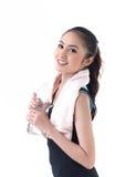 женщина воды удерживания бутылки Стоковые Изображения RF