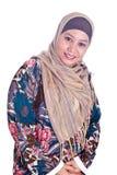 Женщина возмужалого Malay мусульманская в шарфе стоковая фотография