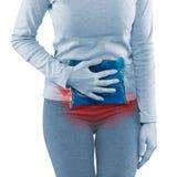 Женщина вокруг талии для того чтобы показать боль на зоне живота Стоковое Фото