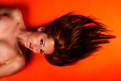 женщина волос длинняя милая Стоковое Фото