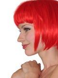 женщина волос красная белая Стоковое Изображение RF