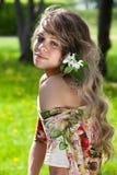 женщина волос цветка стоковые фотографии rf