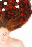 женщина волос длинняя красная Стоковое Изображение