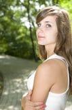 Женщина волос Brown сь Стоковая Фотография RF