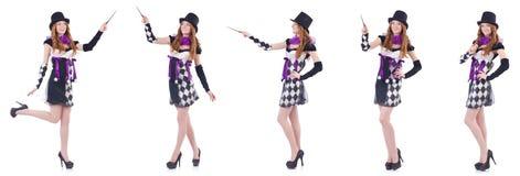 Женщина волшебника с палочкой на белизне Стоковые Фотографии RF