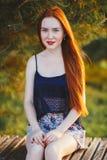 Женщина волос портрета красная Стоковое фото RF