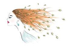 женщина волос windswept Стоковые Изображения
