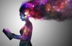 Женщина вселенной иллюстрация вектора