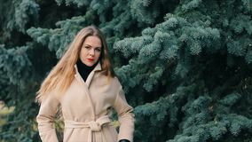 Женщина выглядеть как Николь Кидман в парке зимы с замедленным движением сосны видеоматериал