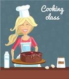 Женщина выпечки с тортом Стоковое Изображение