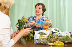Женщина выпивая травяной чай с ее другом Стоковое Фото