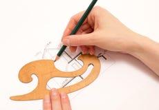 Женщина выполняет технический чертеж Стоковые Изображения RF