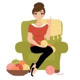 Женщина вязания крючком иллюстрация вектора