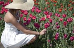 Женщина в белом платье в поле тюльпана Стоковое фото RF