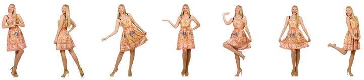Женщина в взглядах моды изолированная на белизне Стоковое Изображение