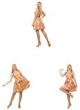 Женщина в взглядах моды изолированная на белизне Стоковое Фото
