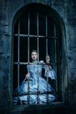 Женщина в викторианском платье Стоковое Фото