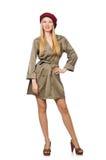 Женщина в воинской изолированной одежде Стоковое фото RF