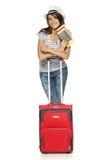 Женщина в вскользь положении с чемоданом перемещения Стоковые Фотографии RF