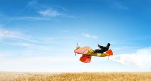 Женщина в вычерченном самолете Мультимедиа Стоковое Изображение RF