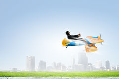 Женщина в вычерченном самолете Мультимедиа Стоковые Изображения