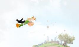 Женщина в вычерченном самолете Мультимедиа Стоковое фото RF