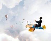 Женщина в вычерченном самолете Мультимедиа Стоковые Фото