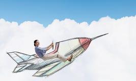 Женщина в вычерченном самолете стоковое изображение
