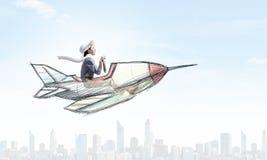 Женщина в вычерченном самолете иллюстрация штока