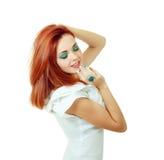 Женщина в в стиле фанк белом платье Стоковая Фотография RF