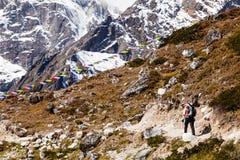 Женщина в горах Гималаев на скалистом следе Стоковое Фото