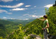 Женщина в горах Стоковое фото RF