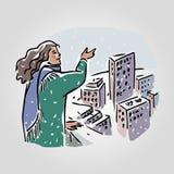 Женщина в городе под идя снег иллюстрацией вектора неба иллюстрация вектора